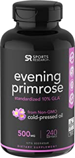 Evening Primrose Oil (500mg) 240 Mini-Liquid Softgels, Cold-Pressed with No fillers or Artificial Ingredien...