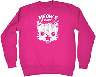 123t Funny Novelty Funny Sweatshirt - Meows It Going - Sweater Jumper