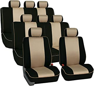 FH Group FH-FB063128 Three Row Cloth Car Seat Covers with Piping Airbag & Split Ready Beige/Black- Fit Most Car, Truck, SUV, or Van
