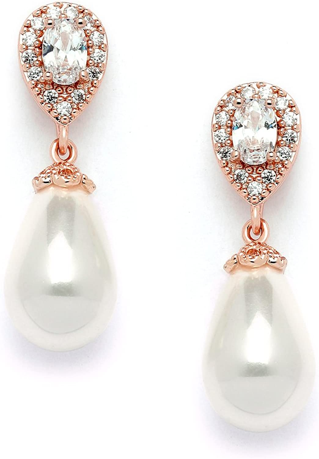 Mariell blueesh pink gold Clip On Earrings with Glass Pearl Drops & Pearshaped CZ  Bridal Wedding Glam