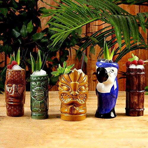 Juego de vasos de cóctel de cerámica tropical, para fiestas tiki, 5 unidades