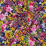 Fließender Viskosestoff, Blumen Gelb Pink auf Blau als