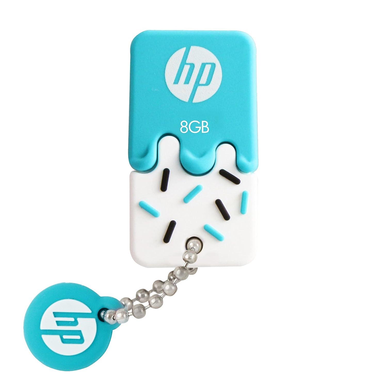 HP ヒューレット?パッカード アイスクリーム USBメモリ (8GB, v178b - USB 2.0 / ブルー アイスクリーム ゴム製 耐衝撃 防滴 防塵)