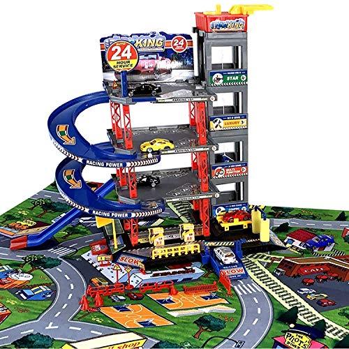 TikTakToo Parkgarage Spielset mit Autos und viel Zubehör für Kinder Spielzeugautos teilweise mit Hubschrauber mit Tankstelle, Fahrstuhl, Waschstraße und Werkstatt (Parkhaus mit Spielteppich)