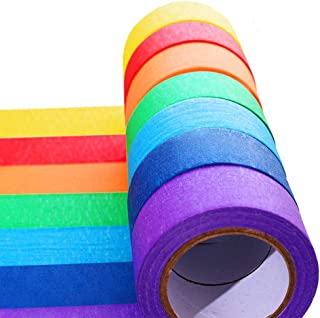 7 Pieces Colored Masking Tape Rainbow Masking Tape Labelling Tape Graphic Art Tape Roll for Fun for Arts DIY, Home Decorat...