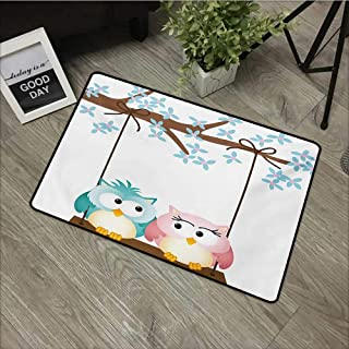Outdoor Door mat W19 x L31 INCH Nursery,Two Owls in Love on a Swing Blossoming Branch Valentines Romance,Pale Blue Pale Pink Brown Easy to Clean, Easy to fold,Non-Slip Door Mat Carpet