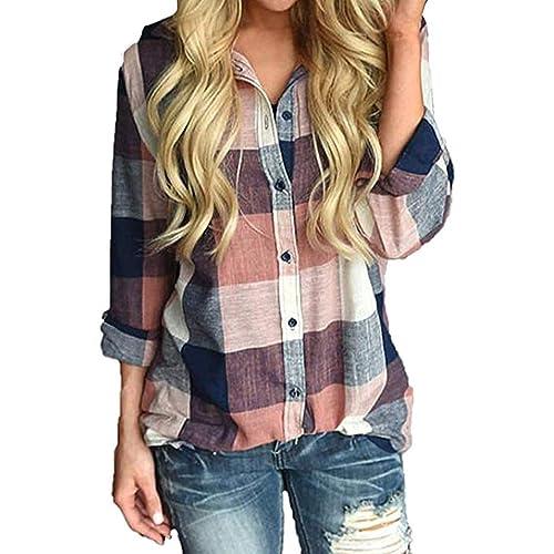 4a495e0a6d5 Wisptime Women Button Down Plaid Shirts Casual Gingham Checkered Shirt Long  Sleeve Blouse