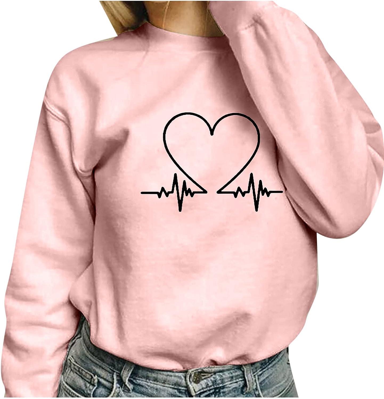 Womens Crewneck Sweatshirts Fashion Love Printing Hoodies Pullover Casual O-Neck Loose Long Sleeve Tunic Tees