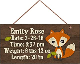 MAIYUAN Baby Birth Stats Wood Sign Remember Childs Birth(E4-WH215) Woodland Fox Personalized Sign