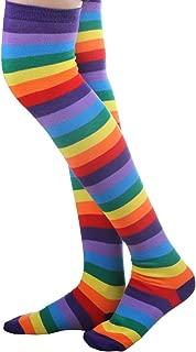 Rainbow Strips Bein Strumpf Bunte Oberschenkel Hohe Socken für Frauen Mädchen Karneval Party Requisiten