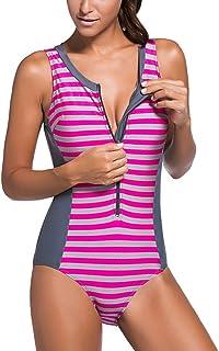 Sidefeel Women's One Piece Swimsuit Monokini Zipper Front Swimwear Large Grey