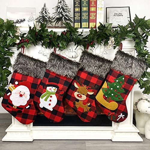 Leipple Christmas Stockings Set of 4 -Large 18'' Xmas Stockings with Buffalo Plaid,Plush Fluff,Santa,Snowman,Reindeer,Xmas Tree - Gift Holding Bag Candy Bag for Fireplace, Seasonal Decor(4 Pack,Red)