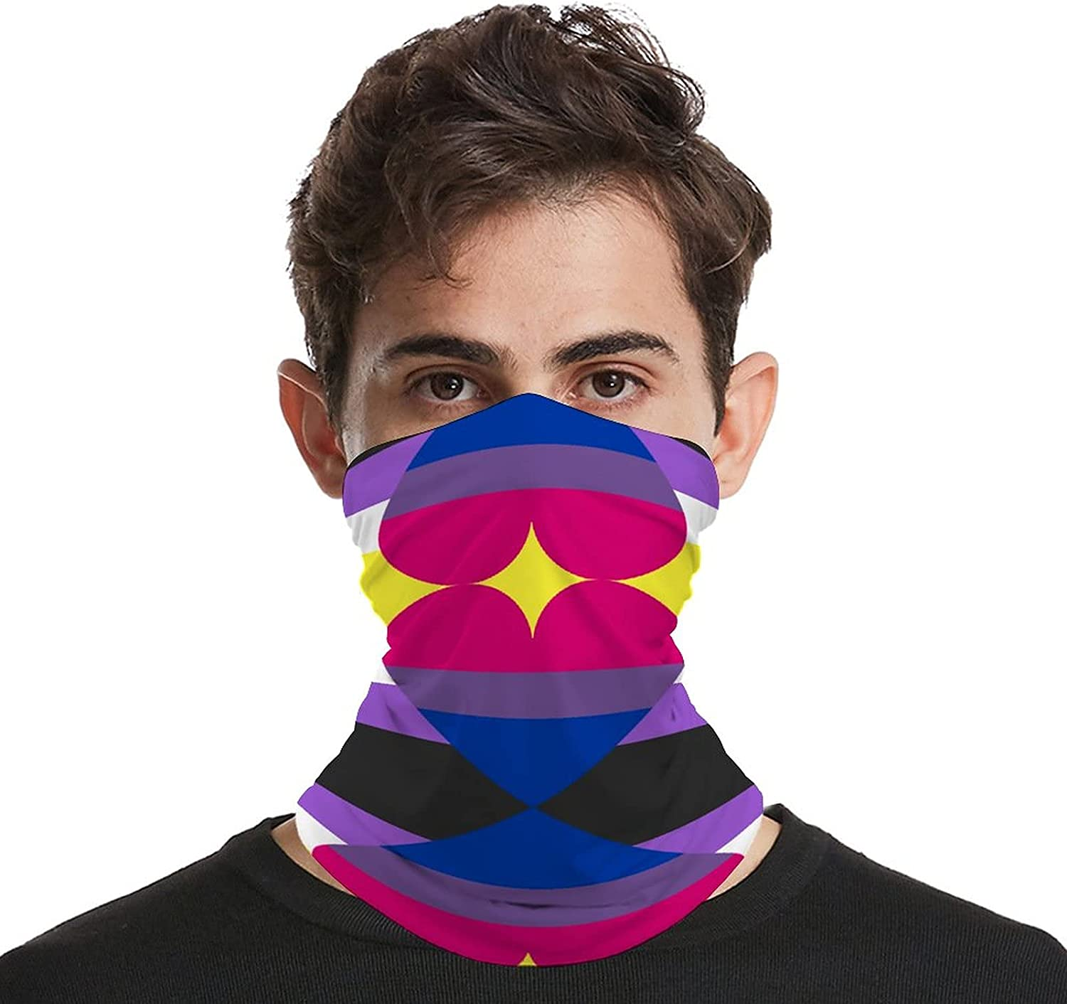 Multifunction Neck Gaiter face Mask for Cooling Summer,Non-Binary Pride Flag Unisex Breathable Bandana Seamless Balaclavas for Dust Outdoor Fishing and Sports Face Cover Scarf