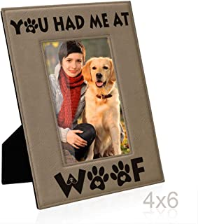 Kate Posh - You had me at WOOF Engraved Leather Picture Frame - Dog Lover Gifts, Birthday Gifts, Pet Memorial Gifts, New Puppy Gifts, Paws and Bones Decor (4x6-Vertical)