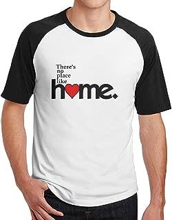 There's No Place Like Home Customed Organic Cotton Mens Raglan Baseball Shirt