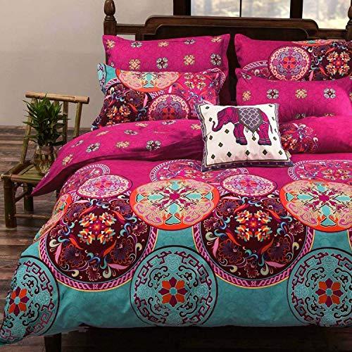 Luxton Boho Mandala Duvet Cover Set, Pink Teal Floral Duvet Cover Queen Size, Lightweight Soft Microfibre 1 Comforter Cover 2 Pillowcases (3 Piece, Queen Size)