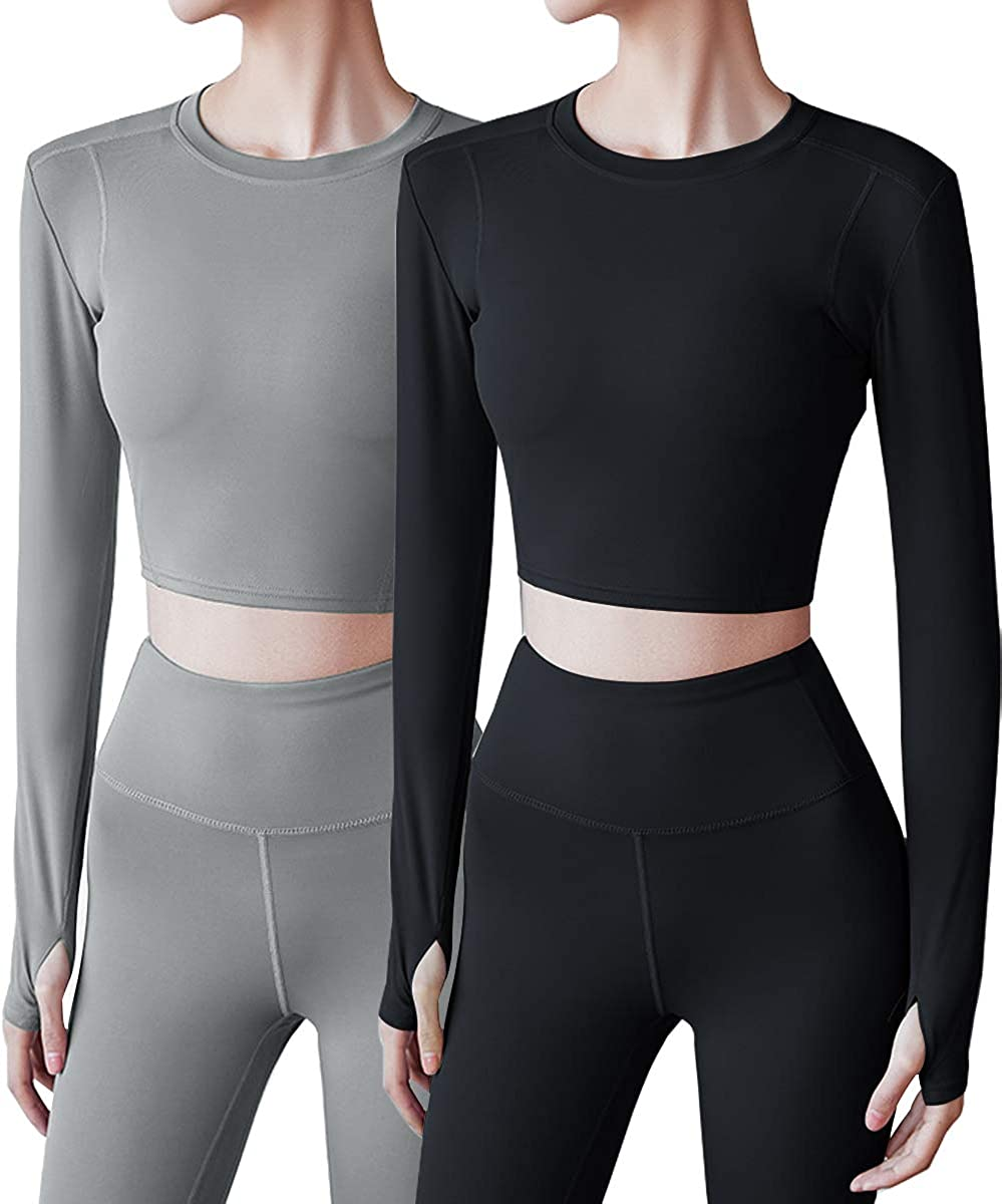 HIBETY 2 Pack Womens Crop Top Long Sleeve Athletic Workout Yoga Shirts Cropped Sweatshirts with Thumb Hole