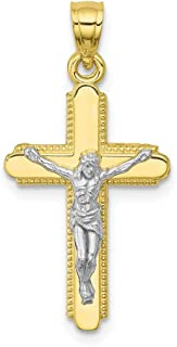10k Yellow Gold Crucifix Cross Religious Pendant Charm Necklace Latin Fine Jewelry For Women