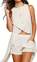 JINTING Two Piece Outfit for Women Crop Top and Short Pants Set Two Piece Romper Set Short Jumpsuit with Pocket