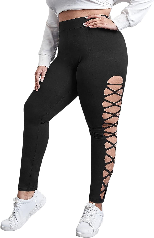 WDIRARA Women's Plus Size Criss Cross Cut Out Leggings Casual Skinny Pants