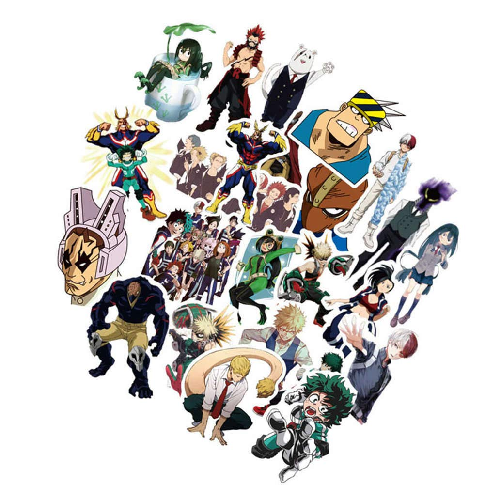 H01 Christ For Givek My Hero Academia Sticker Anime Cartoon Laptop Stickers PVC Waterproof Decal Bumper No-Duplicate Skateboard Pad for macbook Car Snowboard Bicycle Luggage Decor