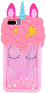 """Mulafnxal Quicksand Unicorn Case for iPhone 8 Plus/7 Plus/6/6s Plus+,Soft Silicone 3D Cartoon Animal Cover,Kids Girls Cute Cool Bling Glitter Kawaii Character Cases Protector for iPhone 6 7 8Plus 5.5"""""""