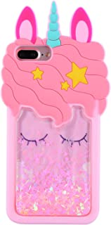 Mulafnxal Quicksand Unicorn Case for iPhone 6 Plus/6S Plus/7 Plus/8 Plus+,Soft Silicone 3D Cartoon Animal Cover,Kids Girls Cute Bling Glitter Rubber Kawaii Character Cases for iPhone 6Plus/7Plus/8Plus