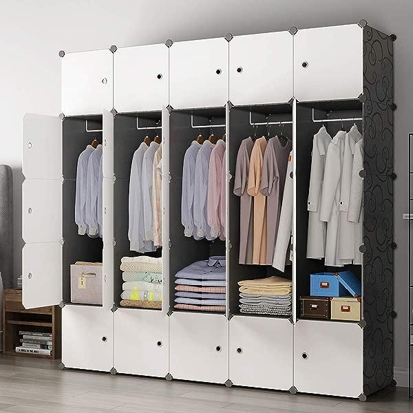 KOUSI Portable Closet Wardrobe Closet Room Closet With Doors Wardrobe With Storage Wardrobes For Bedrooms Portable Closet Wardrobe Bedroom Armoire Black 10 Cubes 5 Hanger