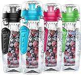 Wasserflasche mit Fruchteinsatz,1000ML Fruit Infuser Sports Trinkflasche BPA-Frei mit Kühlung Obst Flasche (BLUE)