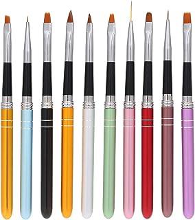 Pinceles para Uñas de Gel, Anself 10 Pcs Set de Cepillo de Esmalte Uñas ( Nylon Pluma de Fototerapia UV )