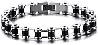 Two-tone Black Silicone Stainless Steel Motorcycle Bicycle Chain Link Bracelets for Men,8.6