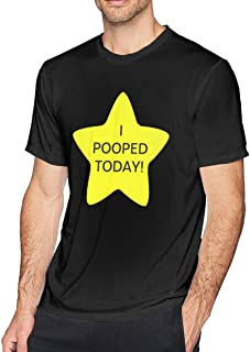 Yaruiguan Men`s Comfortable T-Shirt Design with I Pooped Today Round Neck Short Sleeve Shirt