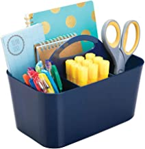 mDesign Small Office Storage Organizer Utility Tote Caddy Holder with Handle for Cabinets, Desks, Workspaces - Holds Desktop Office Supplies, Gel Pens, Pencils, Markers, Staplers - Navy Blue