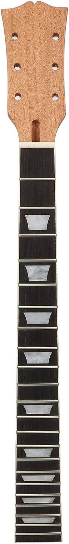 Cuello de guitarra eléctrica, cabezal de paleta, bricolaje, repuesto sin terminar, madera de arce satinada transparente, 22 trastes, diapasón de palisandro con incrustación trapezoidal para Gibson