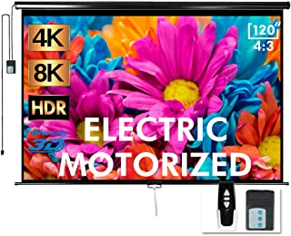 """Aoxun 120"""" Motorized Projector Screen - Indoor and Outdoor Movies Screen 120 inch Electric 4:3 Projector Screen W/Remote C..."""