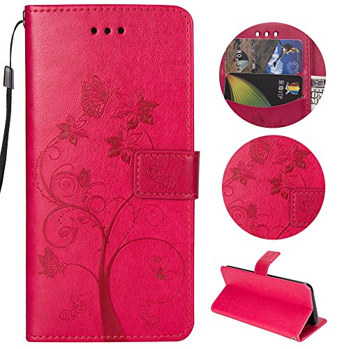 Sycode Sycode Galaxy S8 Plus Hülle,Galaxy S8 Plus Case,Galaxy S8 Plus Schutzhülle,Schmetterling Baum Blume Ameise Muster Lederhülle Hülle für Samsung Galaxy S8 Plus-Rose Red