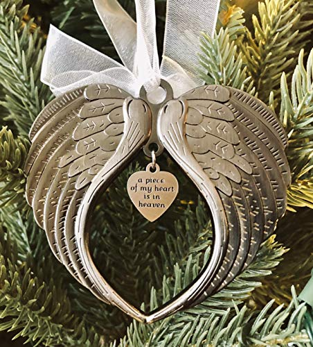 Christmas Ornaments Angel Wings - A Piece of My Heart is in Heaven Ornament for Christmas Tree - Double Sided Memorial Ornament for Loss of Loved One - Luxurious Silk Ribbon & Red Gift Bag