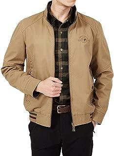 Men's Jacket Casual Lapel Print Windproof Zipper Pocket Double Sided Jacket (Color : Khaki, Size : M)