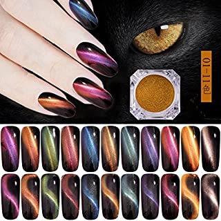 11 Colors Chameleon Magnetic Powder 3D Cat Eye Magic Laser Nail Glitter Dust Manicure Nail Art Pigment With Magnet Laser Super Shine Pigment Powder 0.5g