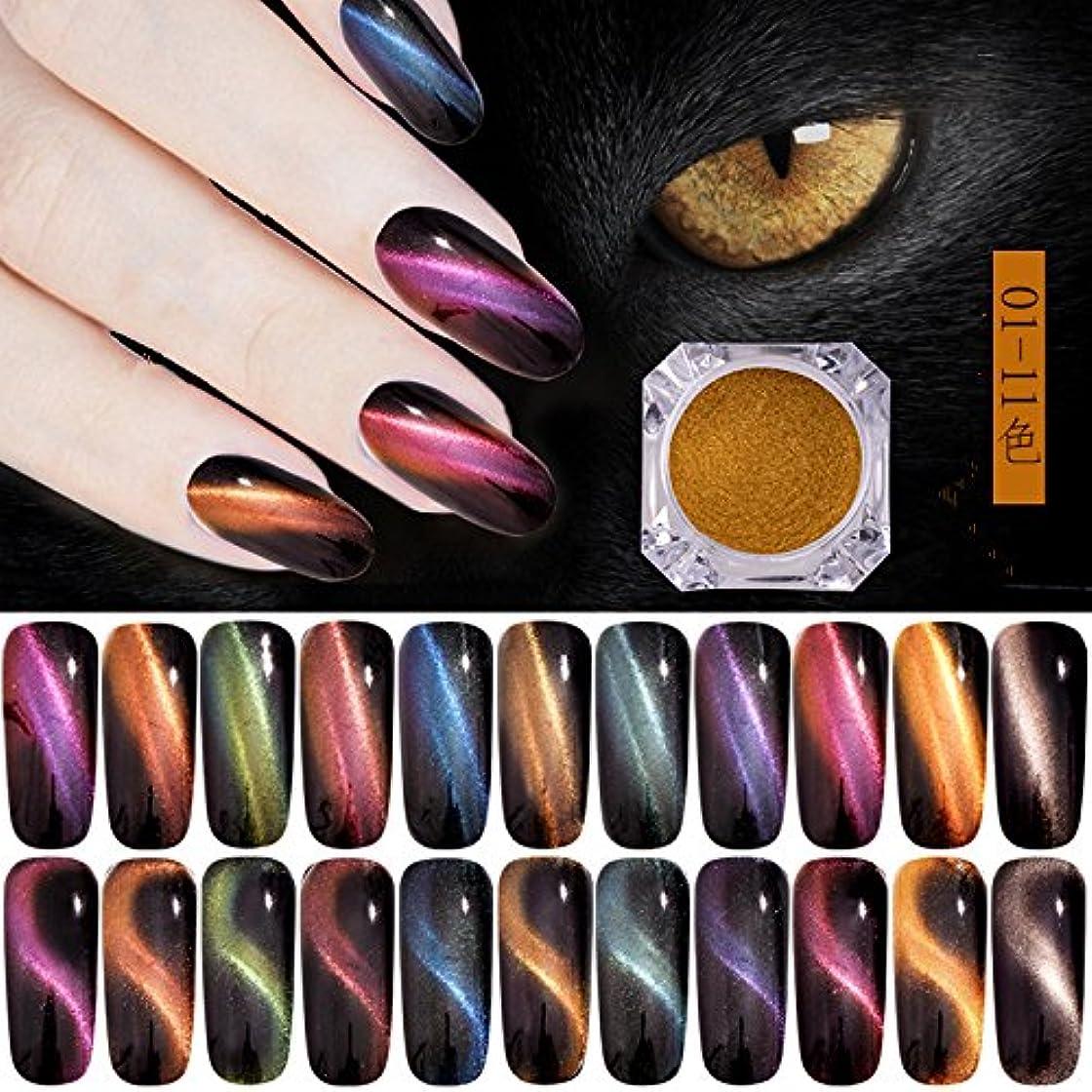 狂人アデレード短くするオーロラキャッツアイカラーパウダー カメレオン&猫の目のように効果 マグネットネイルパウダー マジック磁気グリッターダストUVジェルマニキュアネイルアートピグメント 11色から選べ (11色セット)