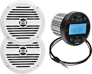 $142 » Sponsored Ad - BOSS Audio Systems SGR3.62 Weatherproof Marine Gauge Receiver and Speaker Package - IPX6 Rated Receiver, Bl...