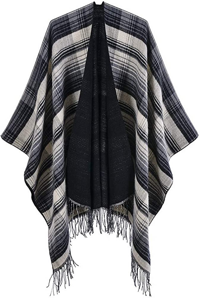 Women's Wool-blend Plaid Fringed Shawl Open Front Poncho Wrap Cape Cardigan Sweaters for Early Autumn New Fitting