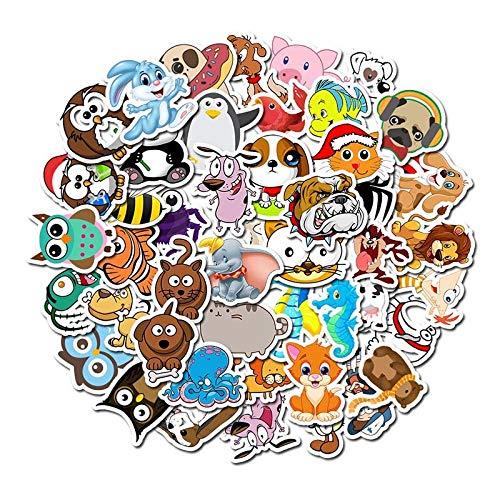 BLOUR 50 unids/Lote Pegatinas de Animales de Dibujos Animados súper Bonitos Impermeables para Coche, portátil, teléfono, Bicicleta, calcomanía, Regalo para niños, Gato, Perro