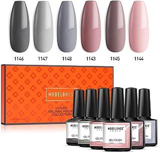 Modelones Gel Nail Polish Set - Nude Gray Series 6 Colors Nail Art Set, UV LED Soak Off Gel, 0.33 OZ 10ML