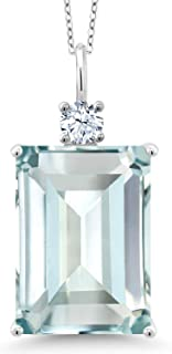 925 Sterling Silver Sky Blue Simulated Aquamarine Women's Pendant necklace, 15.80 Ct Emerald Cut with 18 Inch Silver Chain