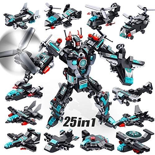VATOS Roboter Bausteine Spielzeug ab 6 7 8 9 10 Jahren für Jungen, 577 Teile Konstruktionsspielzeug 25-in-1 STEM Gebäude Lernspielzeug Flugzeug Baukasten Pädagogisches Geschenk für Jungen und Mädchen