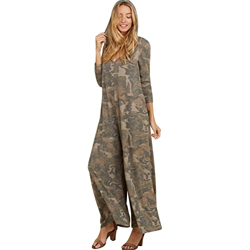 2e36344aad7 Annabelle Women s Comfy 3 4 Sleeve V-Neck Wide Legs Palazzo Pants Romper  Hoodie