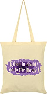 When in Doubt Go to The Library Cream Tote Bag 38x42cm