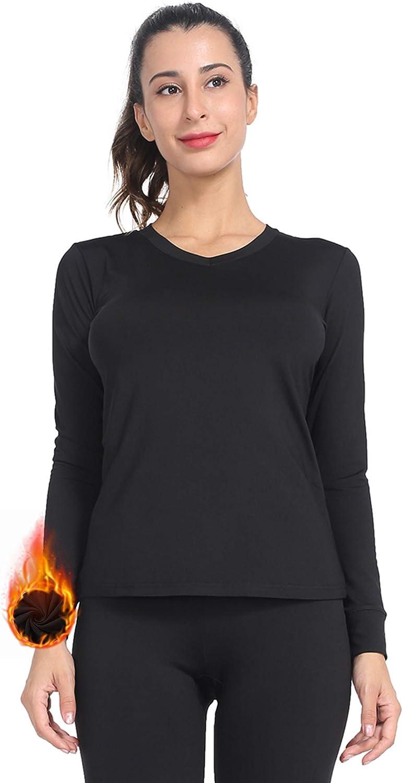 Subuteay Womens Thermal Top V Neck Fleece Lined Shirt Long Sleeve Base Layer Undershirt Lightweight Soft