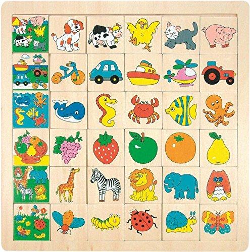 Hape International Woody_ Legespiel / Lernspiel - LOTTO Puzzle - Tiere aus Holz - Bilder Holzspielzeug - Holzspiel - Lottospiel Lernspiel Erinnerung - Legespiele - für Kinder